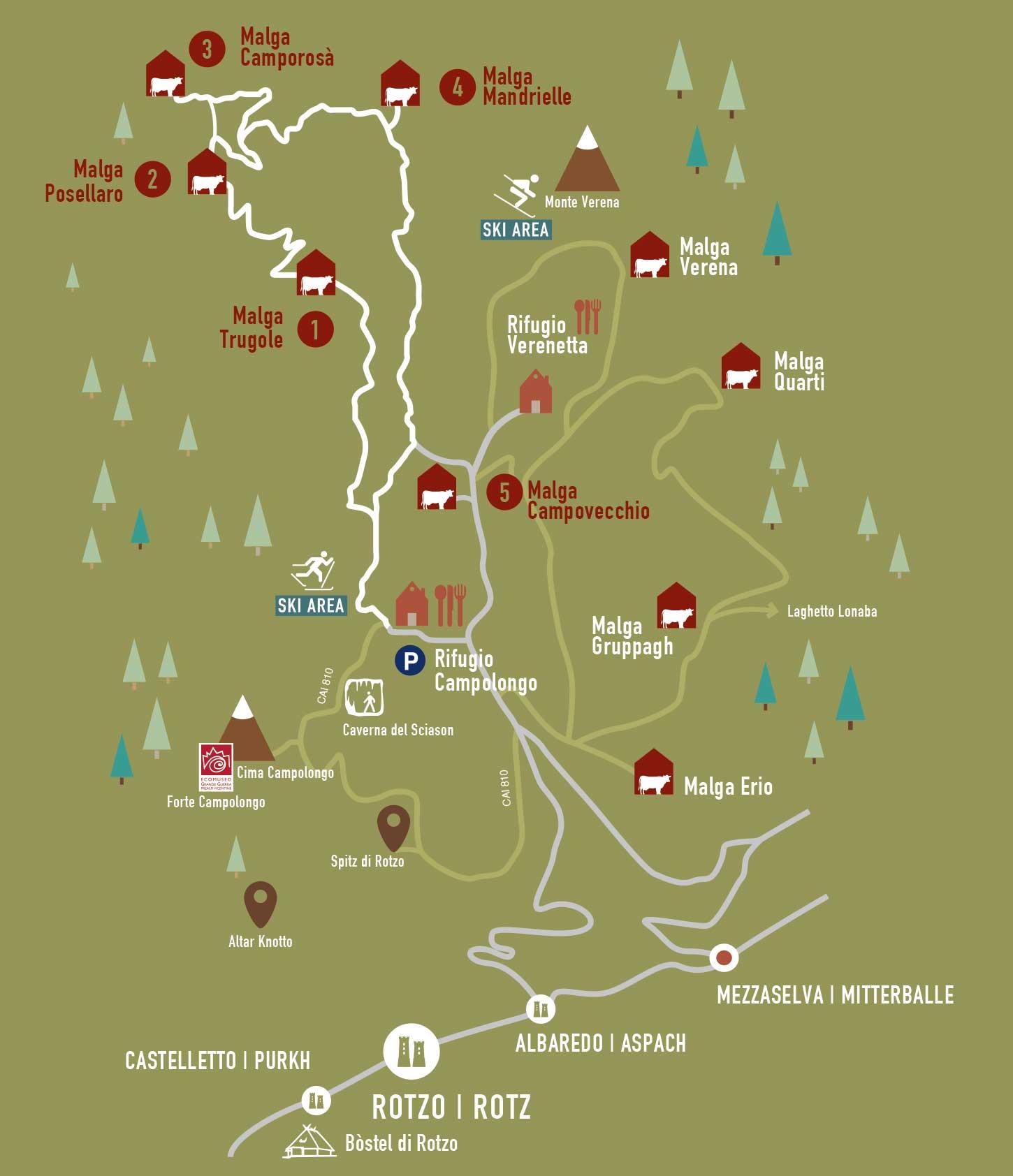 cartina via delle malghe verde